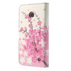 Lumia 630 vaaleanpunaiset kukat puhelinlompakko