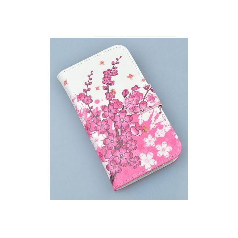 Lumia 920 vaaleanpunaiset kukat puhelinlompakko