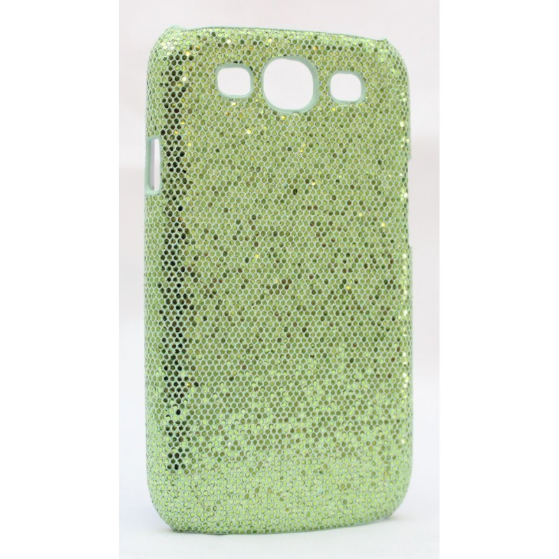 Galaxy S3 vihreän värinen glitter suojakuori.