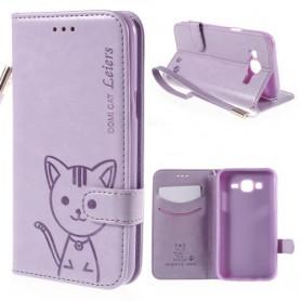 Galaxy J5 violetti kissa puhelinlompakko