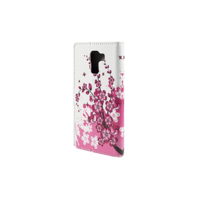 Huawei Honor 7 vaaleanpunaiset kukat puhelinlompakko