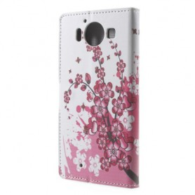 Lumia 950 vaaleanpunaiset kukat puhelinlompakko
