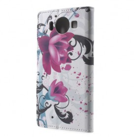 Lumia 950 violetit kukat puhelinlompakko