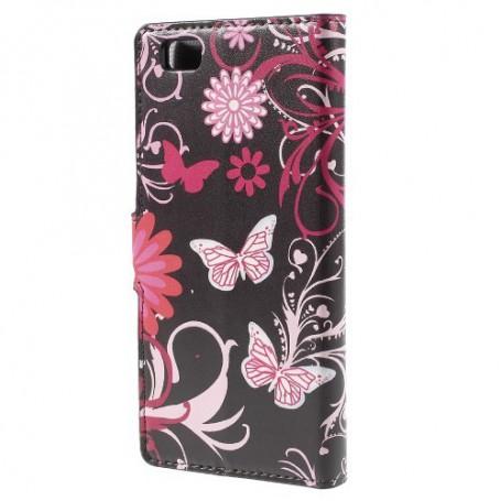 Huawei P8 Lite kukkia ja perhosia puhelinlompakko