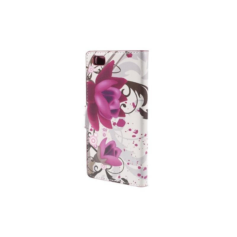 Huawei P8 Lite violetit kukat puhelinlompakko