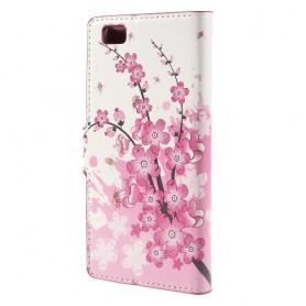 Huawei P8 Lite vaaleanpunaiset kukat puhelinlompakko