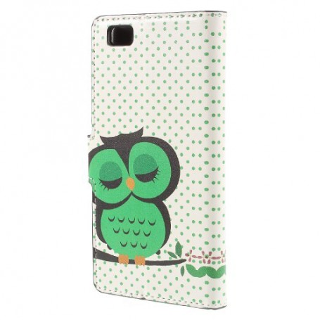 Huawei P8 Lite vihreä pöllö puhelinlompakko