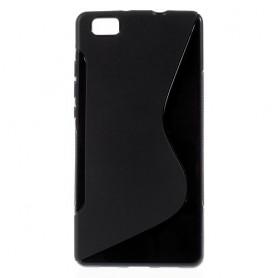 Huawei P8 Lite musta silikonisuojus.