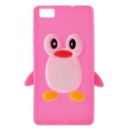 Huawei P8 Lite roosan punainen pingviini silikonikuori.