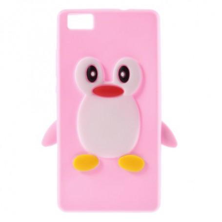 Huawei P8 Lite vaaleanpunainen pingviini silikonikuori.