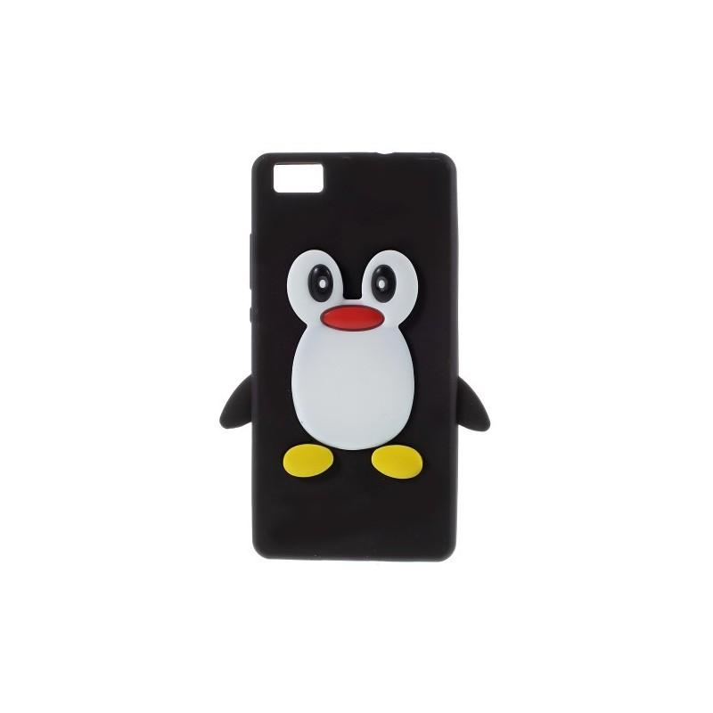 Huawei P8 Lite musta pingviini silikonikuori.