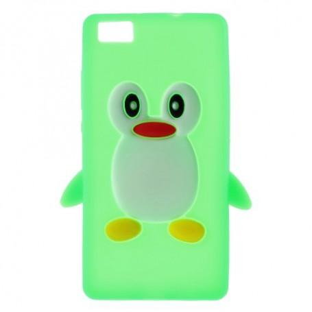 Huawei P8 Lite vihreä pingviini silikonikuori.