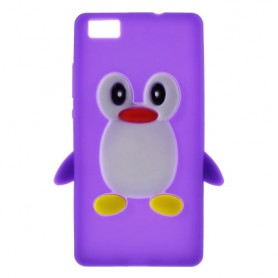 Huawei P8 Lite violetti pingviini silikonikuori.