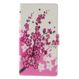 Sony Xperia M4 Aqua vaaleanpunaiset kukat puhelinlompakko