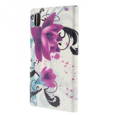 Sony Xperia M4 Aqua violetit kukat puhelinlompakko