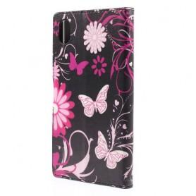 Sony Xperia M4 Aqua kukkia ja perhosia puhelinlompakko