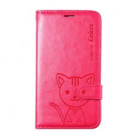Galaxy S5 roosanpunainen kissa puhelinlompakko
