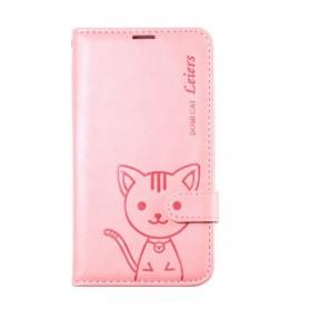 Galaxy S5 vaaleanpunainen kissa puhelinlompakko