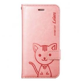 iPhone 6 / 6s vaaleanpunainen kissa puhelinlompakko