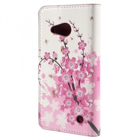 Lumia 550 vaaleanpunaiset kukat puhelinlompakko