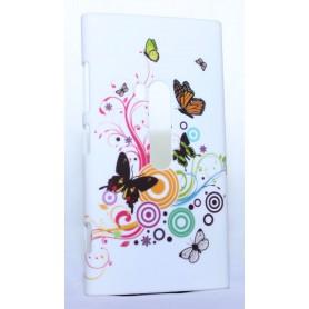 Nokia Lumia 920 kova suojakuori valkoinen perhosia.