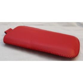 Punainen nahkainen vetoliuska suojakotelo.
