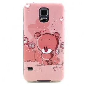 Galaxy S5 vaaleanpunainen nalle silikonisuojus.