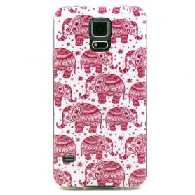 Galaxy S5 vaaleanpunaiset elefantit silikonisuojus.