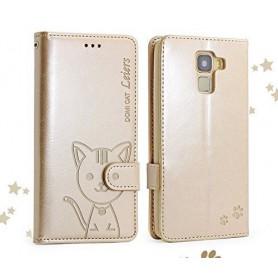 Huawei Honor 7 samppanjan kultainen kissa puhelinlompakko