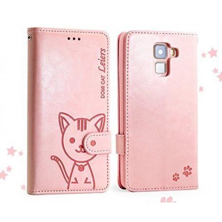 Huawei Honor 7 vaaleanpunainen kissa puhelinlompakko