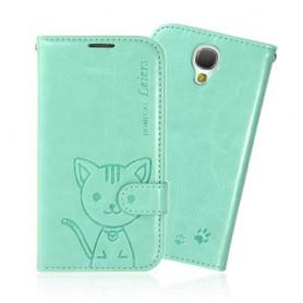 Samsung Galaxy S4 mintun vihreä kissa puhelinlompakko