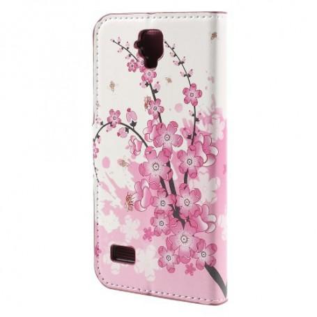 Huawei Y5 vaaleanpunaiset kukat puhelinlompakko