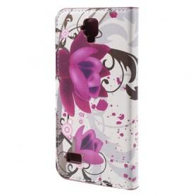 Huawei Y5 violetit kukat puhelinlompakko