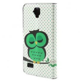 Huawei Y5 vihreä pöllö puhelinlompakko