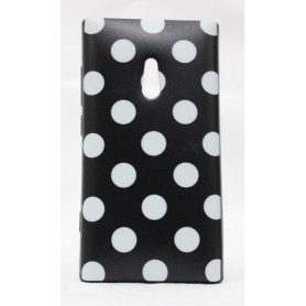 Lumia 800 polka dot suojakuori musta tausta valkoisia täpliä.