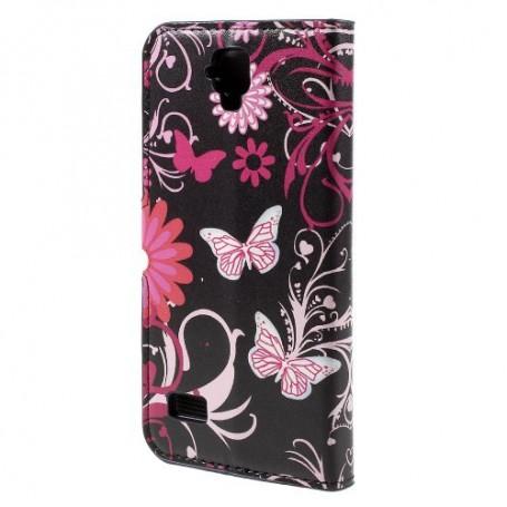 Huawei Y5 kukkia ja perhosia puhelinlompakko