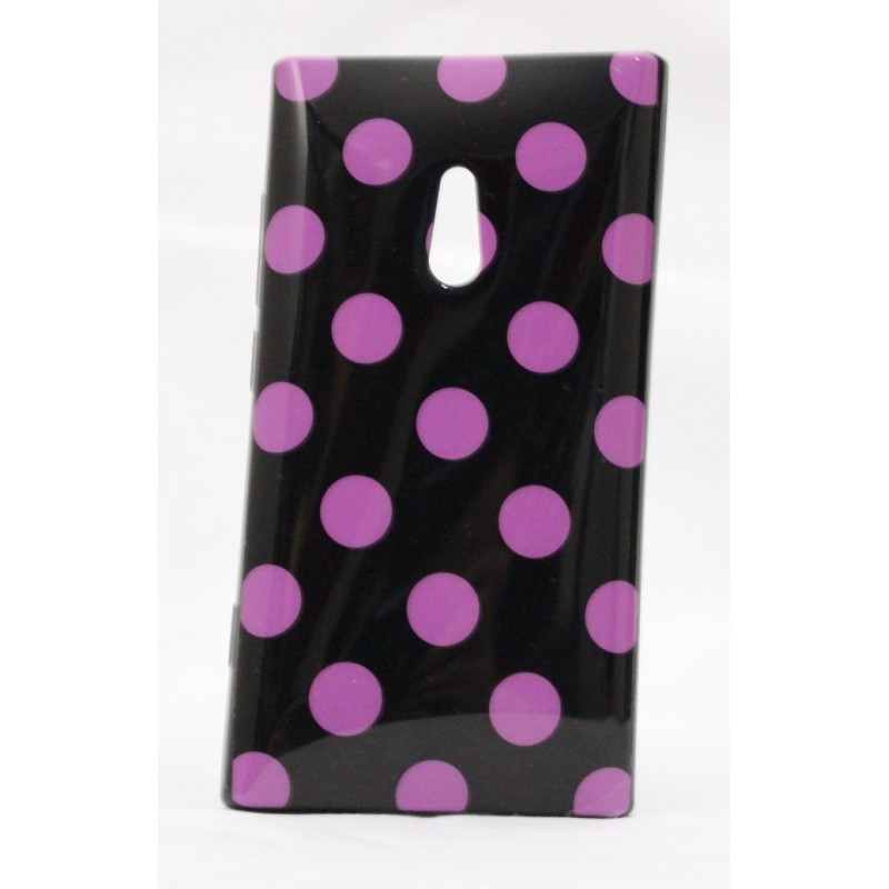 Lumia 800 polka dot suojakuori musta tausta violetteja täpliä.