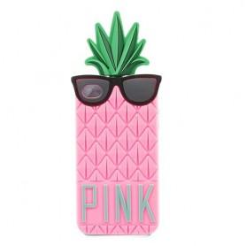 iPhone 4 vaaleanpunainen ananas silikonisuojus.