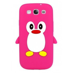 Galaxy S3 hot pink pingviini silikonisuojus.