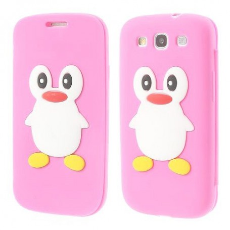 Galaxy S3 vaaleanpunainen kannellinen pingviini silikonisuojus.