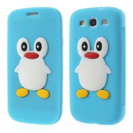 Galaxy S3 vaaleansininen kannellinen pingviini silikonisuojus.