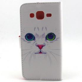 Samsung J5 valkoinen kissa puhelinlompakko