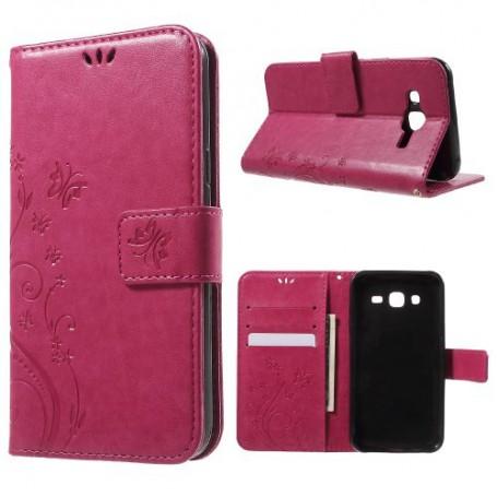 Samsung J5 hot pink perhoset puhelinlompakko