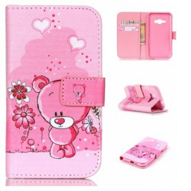 Samsung J1 vaaleanpunainen nalle puhelinlompakko