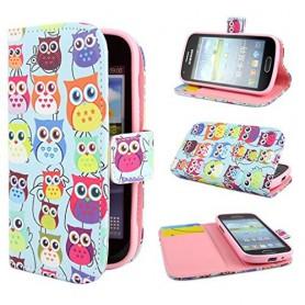 Samsung Galaxy Trend värikkäät pöllöt puhelinlompakko