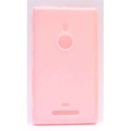 Lumia 925 vaaleanpunainen silikoni suojakuori.