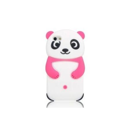 iPhone 5 vaaleanpunainen panda silikonisuojus.