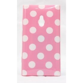 Lumia 800 polka dot suojakuori vaaleanpunainen tausta valkoisia täpliä.