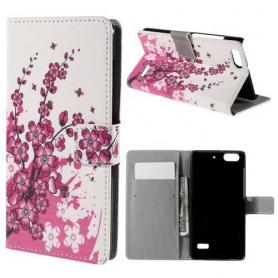 Huawei Honor 4C vaaleanpunaiset kukat puhelinlompakko
