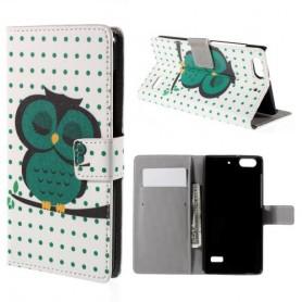 Huawei Honor 4C vihreä pöllö puhelinlompakko